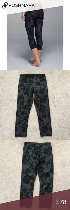 Lululemon. Wunder Under Crop Luxtreme. Inky Floral Excellent condition!  🚫 no trades ✖️ no holds 🔵 offers considered through the offer button ♻️ if it's listed, it's available lululemon athletica Pants Leggings