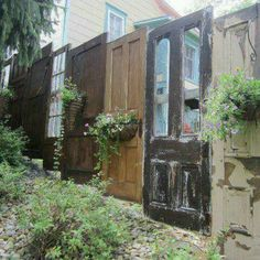 Dishfunctional Designs: New Takes On Old Doors: Salvaged Doors Repurposed Fence Design, Garden Design, Salvaged Doors, Repurposed Doors, Recycled Door, Rustic Doors, Repurposed Furniture, Vintage Doors, Antique Doors