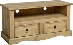 £64.99 H 55cm Corona-TV-Stand-2-Drawer-Televsion-Cabinet-Solid-Wood-Mexican-Pine-Flatscreen
