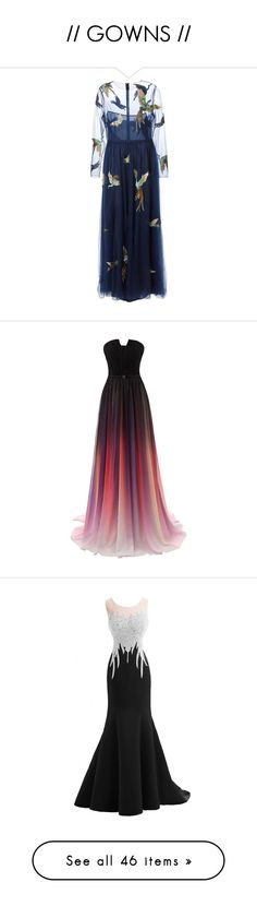 """""""// GOWNS //"""" by aida-indeguy ❤ liked on Polyvore featuring dresses, gowns, valentino, long dress, robe, blue, long dresses, blue ball gown, blue lace dress and long sleeve lace dress"""