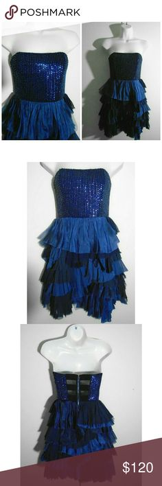 """Alice + Olivia Midnight Blue """"Mei"""" Sequin Dress, 6 Size: 6. $596 retail. Good condition with minimal signs of wear (a few missing sequins under arm, by armpit and on top ridge of bodice). You can only see the missing sequins if you are examining up close and really looking hard. The dark blue color makes it really hard to tell and the dress looks perfect when you're 1 foot away or farther. Easy to replace missing sequins. This silk strapless dress features a midnight blue sequined bodice and…"""
