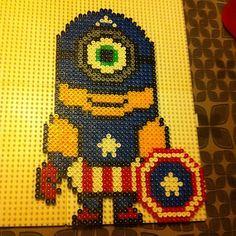 Captain America minion hama beads by sendzi4