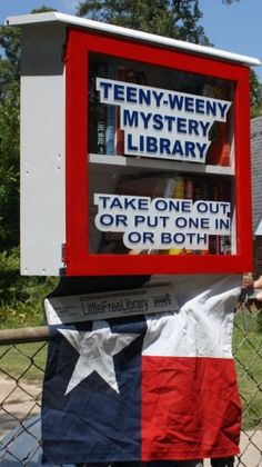 "The ""Teeny-Weeny Mystery Library"" -- part of the ""Little Free Library"" movement. (I'm guessing this one's in Texas...!)"