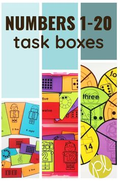 Number sense activities for math small groups and centers. Puzzles, errorless tasks, and visuals for numbers 1-20.  Create math task boxes for your special education resource room or K-1 classroom. From Positively Learning Blog #taskboxes #numbersense #errorlesslearning #numbercards #mathcenters