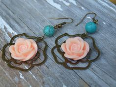 Peach and Turquoise Rose earrings by GrittynPretty on Etsy, $12.99