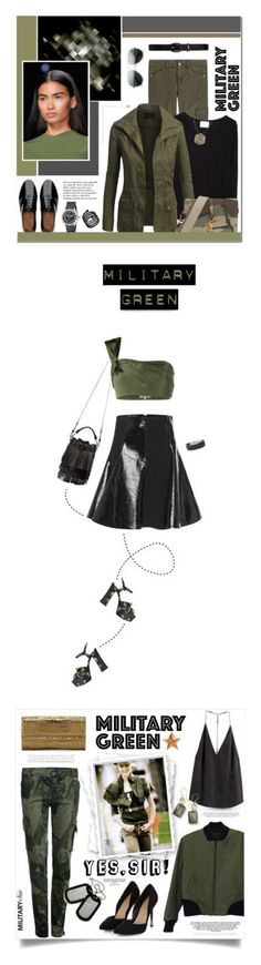 """""""Winners for Attention! Go Army Green"""" by polyvore ❤ liked on Polyvore featuring 7 For All Mankind, La Garçonne Moderne, FitFlop, Lauren Ralph Lauren, Yves Saint Laurent, Michael Kors, Bulova, Marc by Marc Jacobs, Tiffany & Co. and GREEN"""
