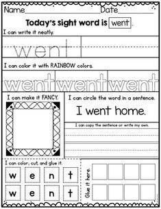 Sight Word Practice Kindergarten Set 4 Preschool Sight Words, Teaching Sight Words, Sight Word Practice, Sight Word Activities, Kindergarten Learning, Preschool Learning Activities, Kindergarten Worksheets, Teaching Resources, Reading Fluency