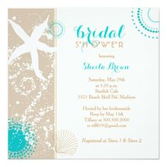 284 best beach bridal shower invitations images on pinterest modern beach bridal shower invitation filmwisefo
