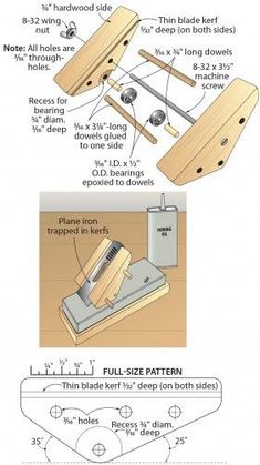 Click To Enlarge - Shop-made honing guide flips to hit the correct angles:
