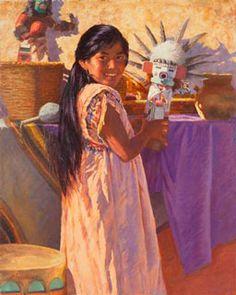 Doll Maker's Daughter by Mike Desatnick kp Native American Women, Native American History, Native American Indians, Indian Paintings, Oil Paintings, Doll Maker, Western Art, Art History, Nativity