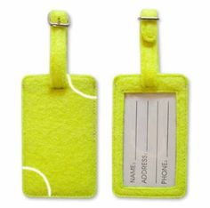 Set your luggage apart with a tennis ball luggage tag. A great way to represent your favorite sport and make it easy to identify your luggage.  They feature a standard clear sleeve and a removable card that you can insert your information on. Don't travel without one!