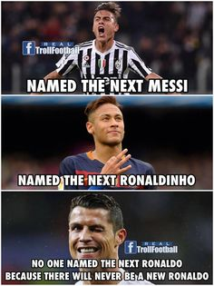 yes no one can be ronaldo cuz he is such a screw up Ronaldo Memes, Cristiano Ronaldo Quotes, Messi Vs Ronaldo, Cristiano Ronaldo Juventus, Ronaldo Football, Football Players, Funny Football Memes, Sports Memes, Real Madrid