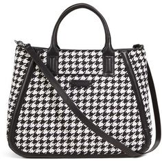Vera Bradley Trapeze Tote in Midnight Houndstooth with Black Trim