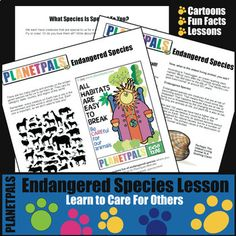 Planetpals Endangered Species Lesson Activities Earth Science Environment Earth Every Day - Amped Up Learning Earth Science Lessons, Science Topics, Science For Kids, Life Science, Science Notes, Science Art, Science Activities, Science Projects, Science Experiments