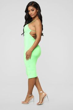 Available In Neon Lime And Hot PinkSpaghetti StrapsV-NeckBack StrapStretchMade in Polyester, Spandex Mint Green Outfits, Get The Look, Take That, Black Women, Sexy Women, Fashion Nova Models, Jeans Dress, Cut And Style, Sexy Outfits