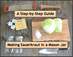 Making sauerkraut in a mason jar is super easy! I never knew how few ingredients it takes, not to mention how fast the processing is! Step by Step Guide! Making Sauerkraut, Canning Pickles, Canning Vegetables, Canned Food Storage, Meals In A Jar, Fermented Foods, Preserving Food, Drying Herbs, Canning Recipes