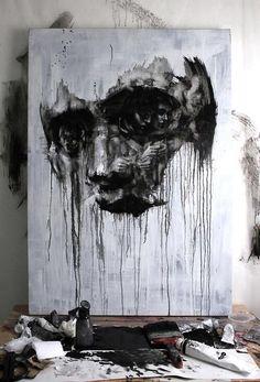 portrait painting face illustration black and white illusion Painting Inspiration, Art Inspo, Toile Design, Street Art, A Level Art, Ap Art, Skull Art, Portrait Art, Amazing Art