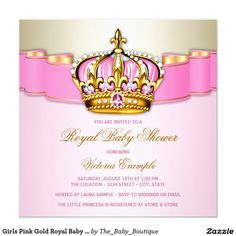 girl shoe pink gold glitter pearl baby shower card | girls shoes, Baby shower invitations