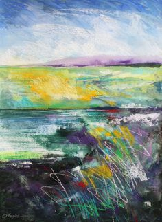 Daily Painters Abstract Gallery: Western River, abstract landscape by Carol Engles