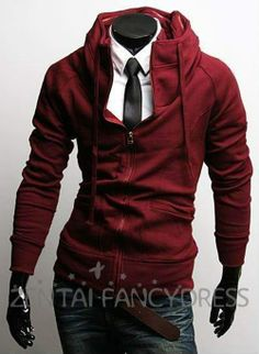 New Mens Assassins Creed 3 Desmond Miles Hoodie Coat Zip up Sweatshirt Red Jacket