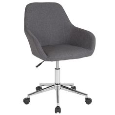 Flash Furniture Cortana Dark Gray Fabric Contemporary Task Chair at Lowe's. This bucket type task chair extends an invitation to sit, and perform an array of tasks in comfort. This chair is ideal because of the mid back support Grey Desk Chair, Swivel Office Chair, Home Office Chairs, Office Desk, Desk Chair Comfy, Modern Desk Chair, Home Depot, Breakfast Bar Chairs, Video Vintage