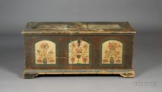 """Paint-decorated Pine Dower Chest, John Seltzer, Jonestown, Dauphin County (now  Lebanon County), Pennsylvania, 1794 the facade with thre tombstone panels, the center panel with an arrangement of flowers issuing from a goblet, flanked by urns, one of which is signed """"John Seltzer 1794,"""" original surface, (imperfections), ht. 22 1/2, wd. 50, dp. 21 3/4 in.   top worn, and with pait loss due to moistrure damage; abrasions to base and edge of top; facade in good condition  Sold $15,405"""