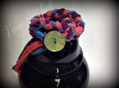 Recycled sweater wrap bracelet women's coral teal by TwiceStitched, $8.00
