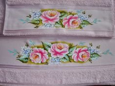 pintura em tecido jogo de banho rosas