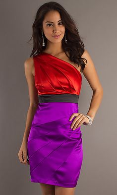 Prom Color Block Dress Red Purple Shorts Colors