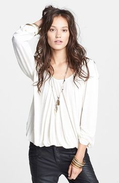 Free People 'Adelia' Blouse available at #Nordstrom (slate blue medium)