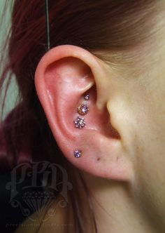 """ryanpba: """" Triple conch piercing with rose gold and amethyst jewelry by Body…"""