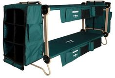 Sleep comfortably camping outdoors or at home in a guest room with the Cam-O-Bunk Large Green Bunk Bed with Leg Extensions and Cabinets from Disc-O-Bed. By using the stack adapters supplied, not only do the two cots bunk - thereby ensuring maximum campers per tent - but by simple action can be used as two single cots or converted to a sitting bench during the day.  https://api.shopstyle.com/action/apiVisitRetailer?id=481439737&pid=uid8100-34415590-43