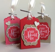 Stampin' Up! Valentine's Lollipop Treat Tag Holders Elaine's Creations Made with the Scallop Tag Topper Punch!