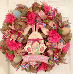 good example of how to use the mesh minimally.  Easter/Spring Deco Mesh Wreath  on Etsy, $55.00