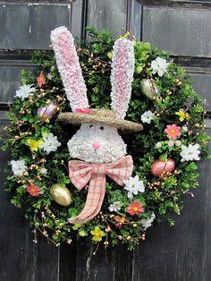 Boxwood Egg Wreath - Spring Wreath - Hydrangea Bunny Wreath - Spring Home Decor - Easter Wreath -Berry Wreath - Shabby Chic - French Wreaths...