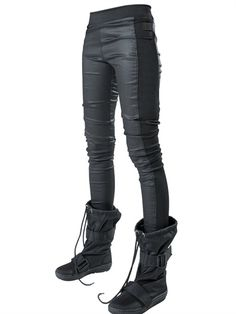 DEMOBAZA - WAXED LIGHT DENIM LEGGINGS - LUISAVIAROMA - LUXURY SHOPPING WORLDWIDE SHIPPING - FLORENCE