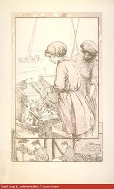 As male transport workers were recruited to fight in the First World War, their jobs were often taken up by women. This poster celebrates the contributions which Underground staff made to the war effort on the Home Front as well as in the armed forces. The women fitters depicted in the central image are carrying out very similar manual duties to the men represented in the borders.  --  WWI propaganda poster (Great Britain, UK), 1918.  Artist: Archibald Standish Hartrick.