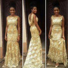 Gorgeous Gold Lace Long Evening DRess 2017 Back Open African Formal Gown Red Carpet Prom Evening Gowns Vestidas De Noiva Longo