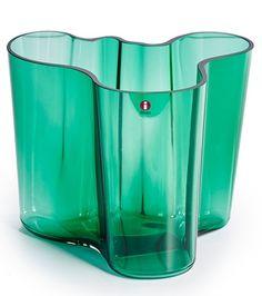 Aalto-maljakko, korkeus 160 mm, smaragdinvihreä