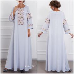 It's not a dress, it's a pure tenderness . Price 880 dirham For inquiries what's up Abaya Fashion, Fashion Dresses, Arabic Dress, Resort Dresses, Caftan Dress, Hijabs, Classy Dress, Point, African Fashion