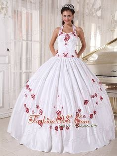 Fashionable White Quinceanera Dress Halter Taffeta Embroidery Ball Gown  http://www.fashionos.com  http://www.facebook.com/quinceaneradress.fashionos.us  This White with red applique ball gown quinceanera dress will make you more charming on your prom. The bodice features a halter-top neckline.Its dropped waistline is sure to flatter your figure. Layers of soft, whisper-thin material flare beautifully to the floor.