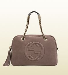 Gucci - soho nubuck leather chain shoulder bag 353126AHHHG2137 in Grey Field.