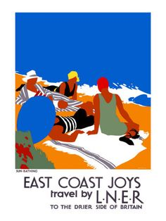 Sun-Bathing (East Coast Joys Travel by LNER), poster design by Tom Purvis