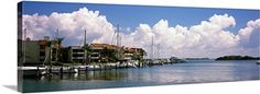 Poster Print Wall Art Print entitled Boats docked in a bay Cabbage Key Sunshine Skyway Bridge in Distance Tampa Bay Florida Sunshine Skyway Bridge, Tampa Bay Florida, Florida Sunshine, Boat Dock, Dark Forest, New York Skyline, Wall Art Prints, Clouds, Travel