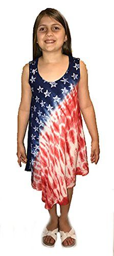 G21720-4/5 Riviera Sun American Flag Dress / Dresses for Girls:    TREAT THAT LITTLE LADY TO A ONE-OF-A-KIND SUMMER DRESS/bbr br  Stylishly Patriotic /bbr br Looking for the perfect fourth of July outfit for your little girl? Or summer wear that your picky teenie won't brhelp but love? Then Riviera Sun's star spangled banger of a sundress is just what you need to get that rare brnod of approval from that young miss! This tie-dye summer dress is designed using the highest quality brpigm...