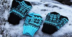 Winter -mittens pattern by Milla H. Fair Isle Knitting Patterns, Crochet Patterns, Fingerless Mitts, Crochet Winter, Mittens Pattern, Crafts To Make And Sell, Wrist Warmers, Knitted Gloves, Beading Tutorials