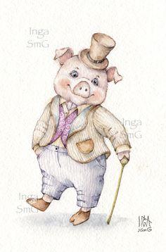 Инга Измайлова свинка кабан свинья год кабана Inga SmG boar pig illustration watercolor art Pig Illustration, Illustrations, This Little Piggy, Little Pigs, Animals And Pets, Cute Animals, Pig Images, Pig Art, Cute Piggies