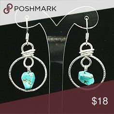 Turquoise chip gemstone hoop earrings Minimalistic yet beautiful!   Designed using silver plated non tarnish wire designed into a hoop featuring beautiful turquoise chip gemstone beads and finished with hypoallergenic earrings!  Please contact me with any questions that you may have and thank you so much for looking. Jewelry Earrings