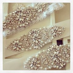 Crystal and pearl beaded applique for bridal sash, wedding headband, garters by Retrolace on Etsy https://www.etsy.com/listing/271399274/crystal-and-pearl-beaded-applique-for