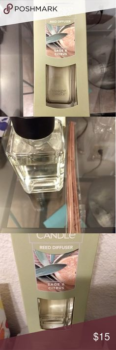 Yankee Candle Sage & Citrus Reed/Oil diffuser NWT, Sage and Citrus scented oil with UNUSED Reed sticks.  Only opened to smell this scent.  Not my cup of tea!  Open to reasonable offers.  Bundle and save with items in my closet! Yankee Candle Other
